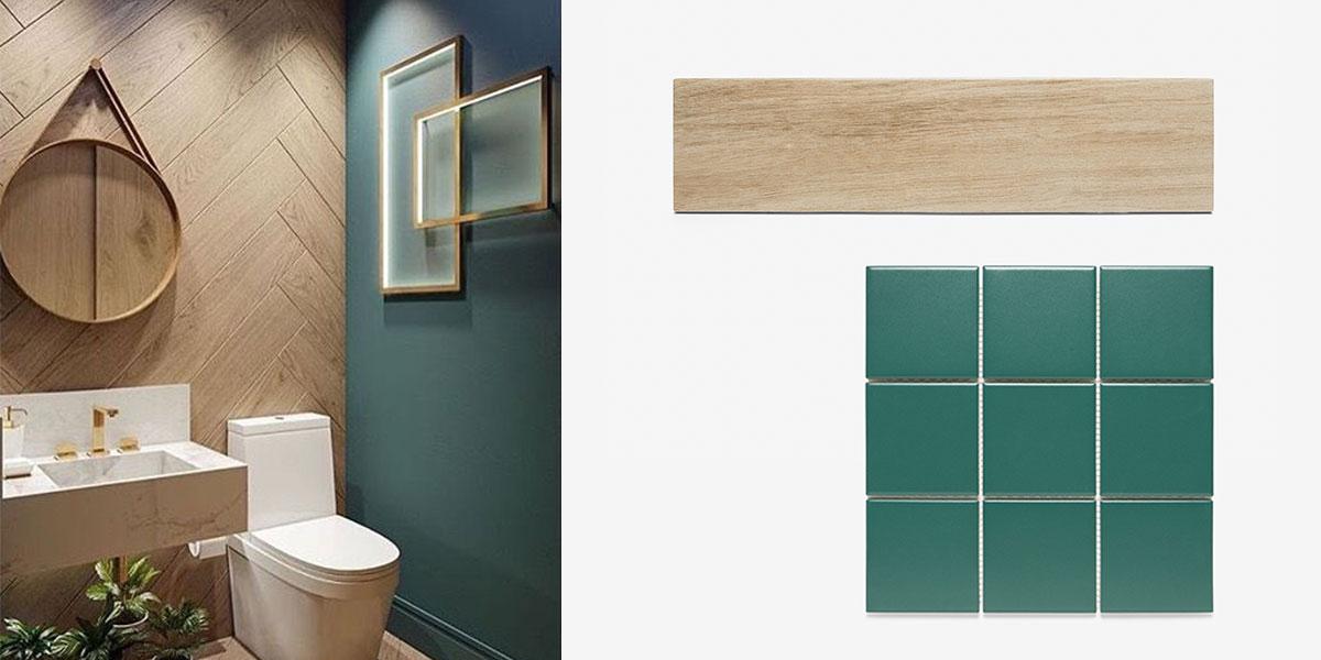 우드 헤링본 패턴과 그린컬러 욕실