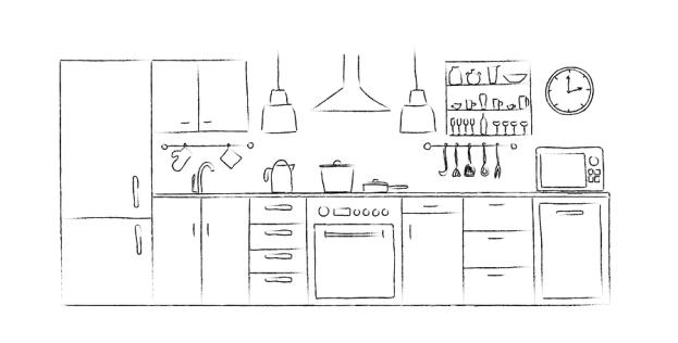 주방 계획 스케치