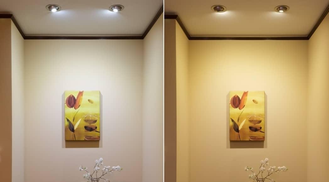 백색과 전구색 조명, 벽 색상의 차이
